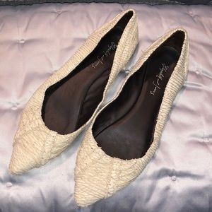 Elizabeth and James Bone Snakeskin E-Jane Flats